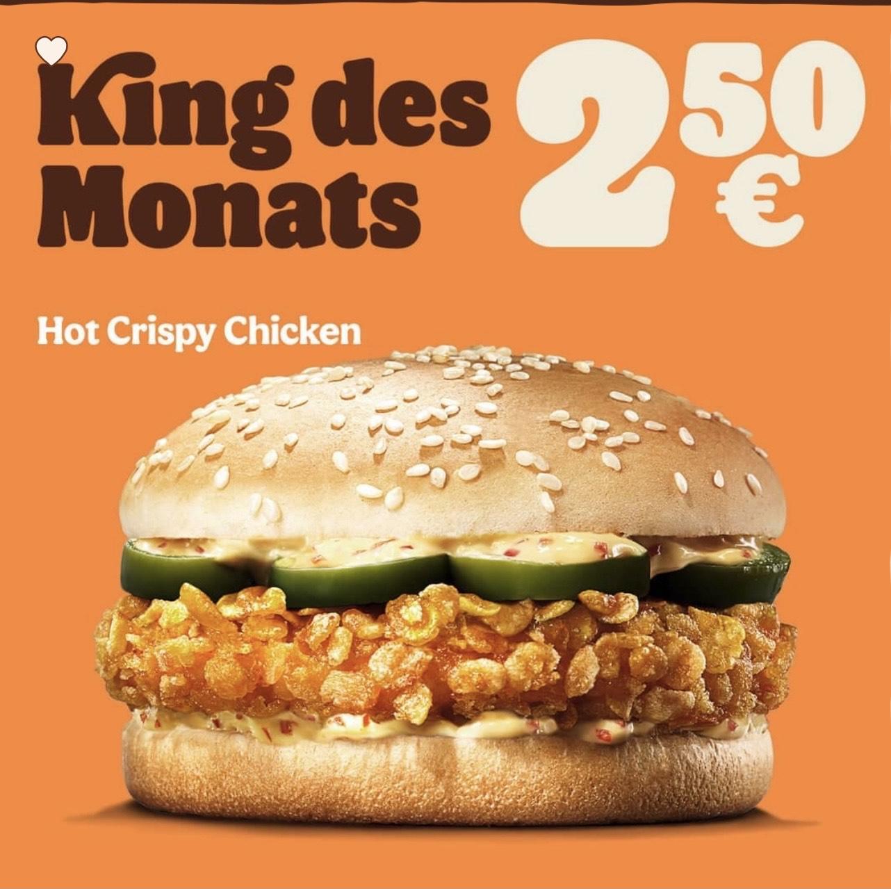 """Burger King: King des Monats April """"Hot crispy chicken"""" um € 2,50"""
