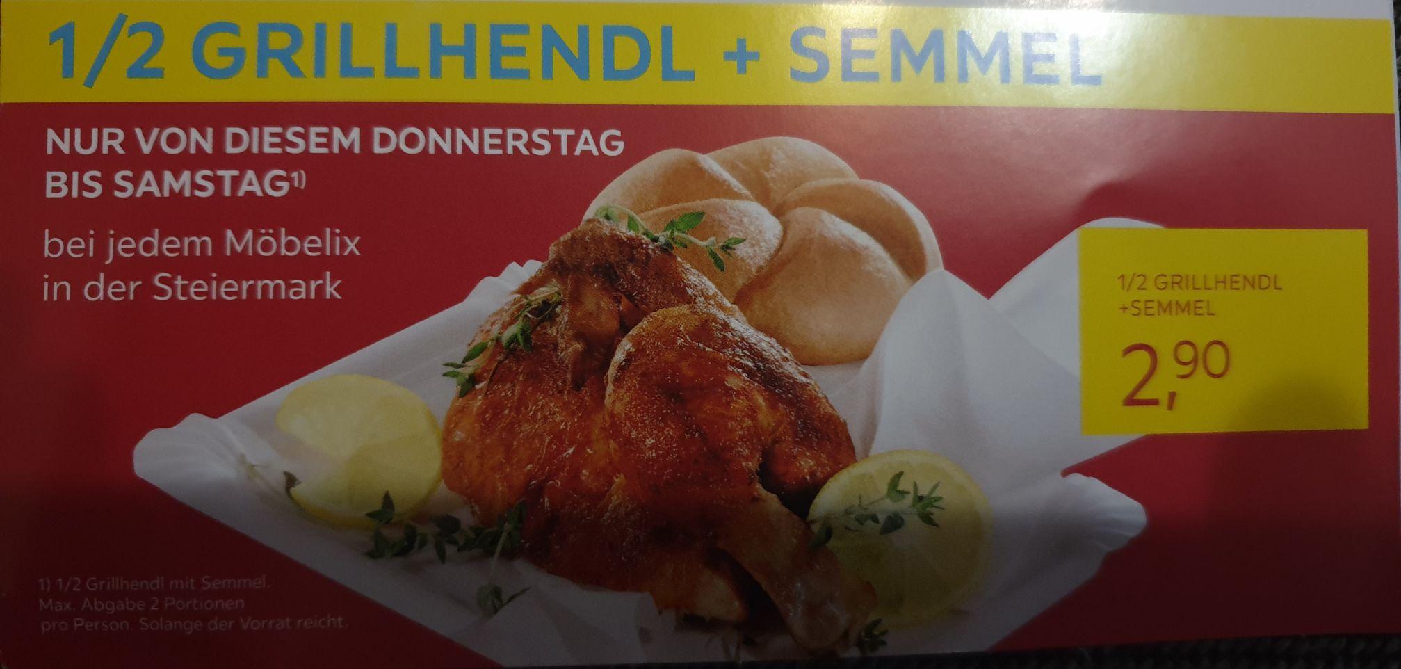 1/2 Grillhendl + Semmel um € 2.90 bei jedem Möbelix in der Steiermark