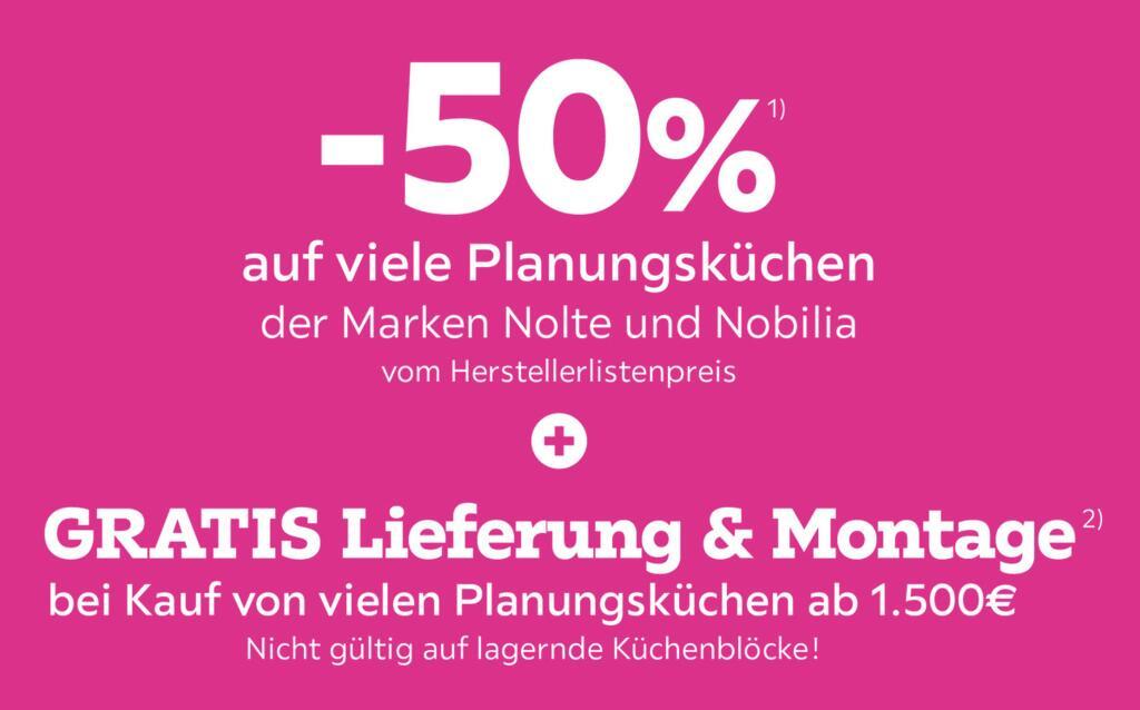 Mömax: 50% Rabatt auf Planungsküchen der Marke Nolte & Nobilia + gratis Lieferung & Montage