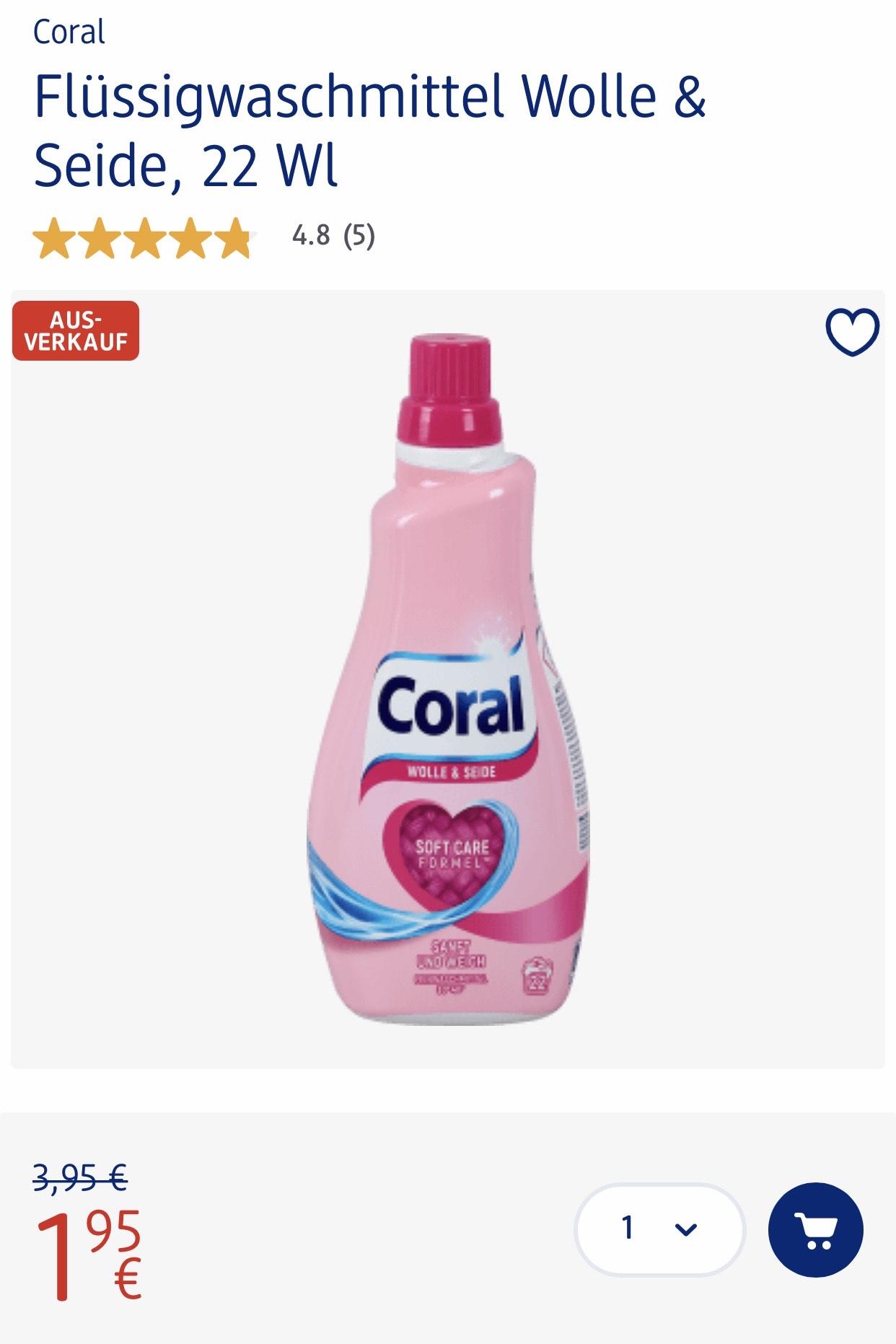 CORAL Feinwaschmittel Ausverkauf -50% @DM