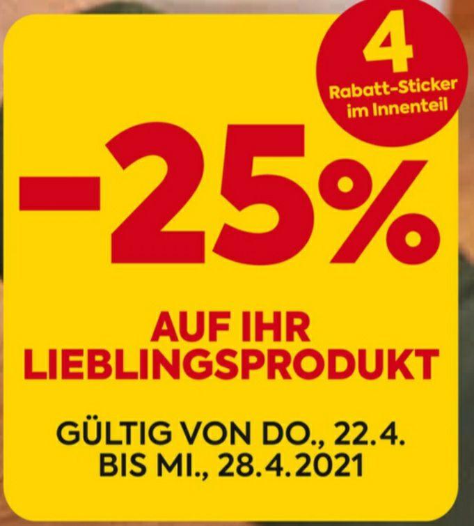 BILLA/PLUS -25% Sticker Aktion 22.04. - 28.04.