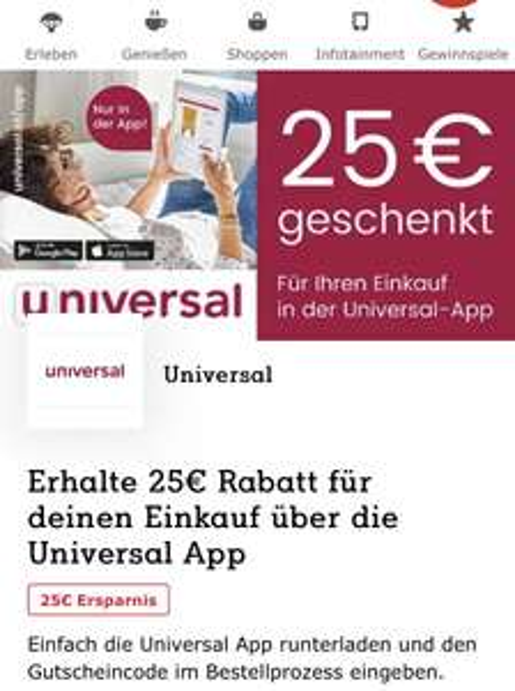 Universal 25€ Rabatt bei 100€ MBW