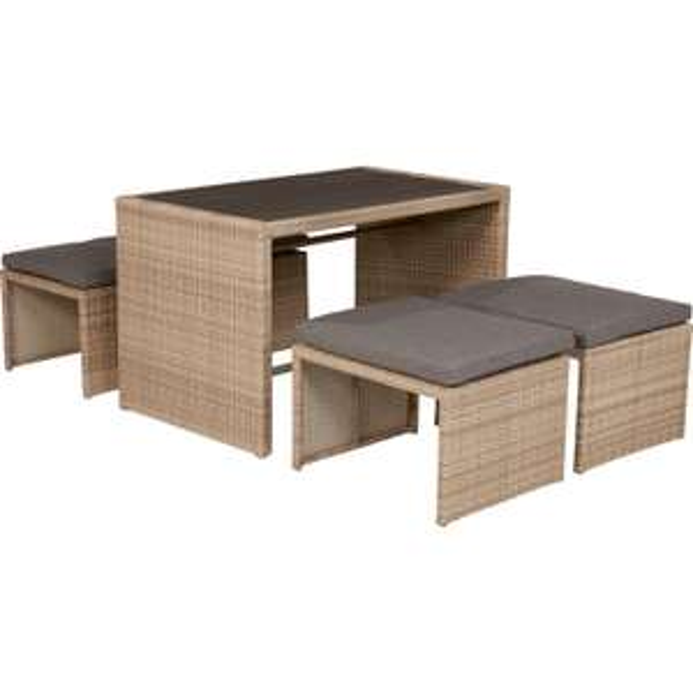 Lounge-Set mit Esstisch Penticton 4-teilig aus Polyrattan Grau