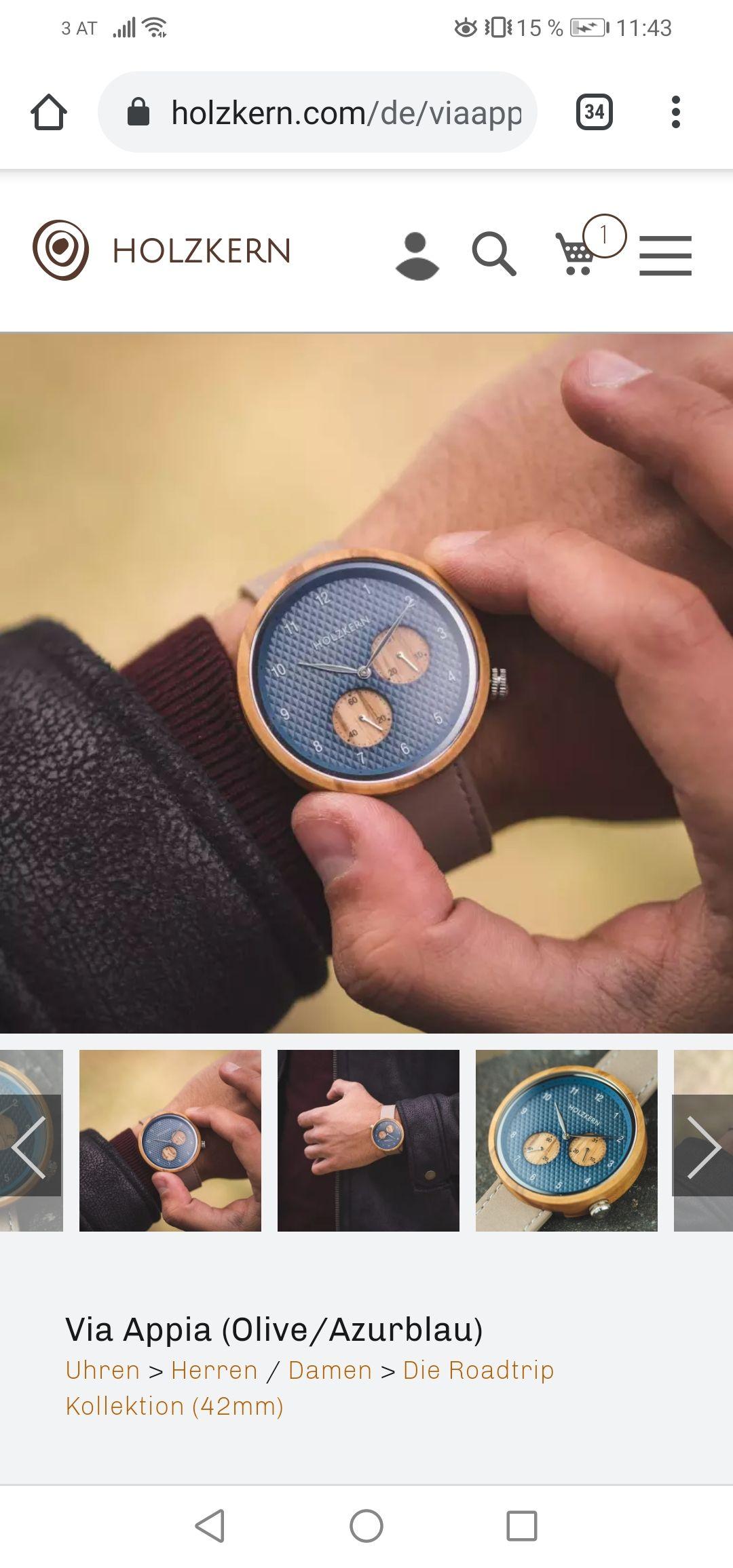 Armbanduhr Holzkern Via Appia
