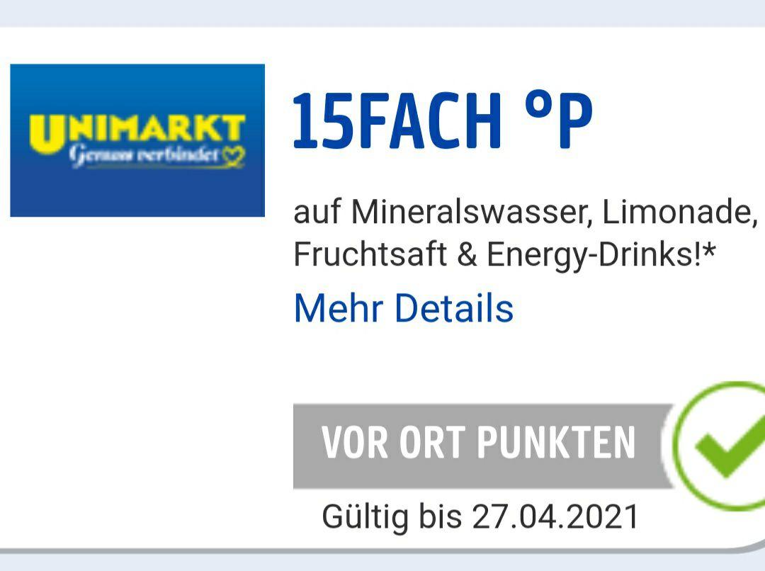 15-FACH PAYBACK Punkte beim UNIMARKT auf Mineralwasser, Fruchtsäfte, Energy Drinks und Limonade