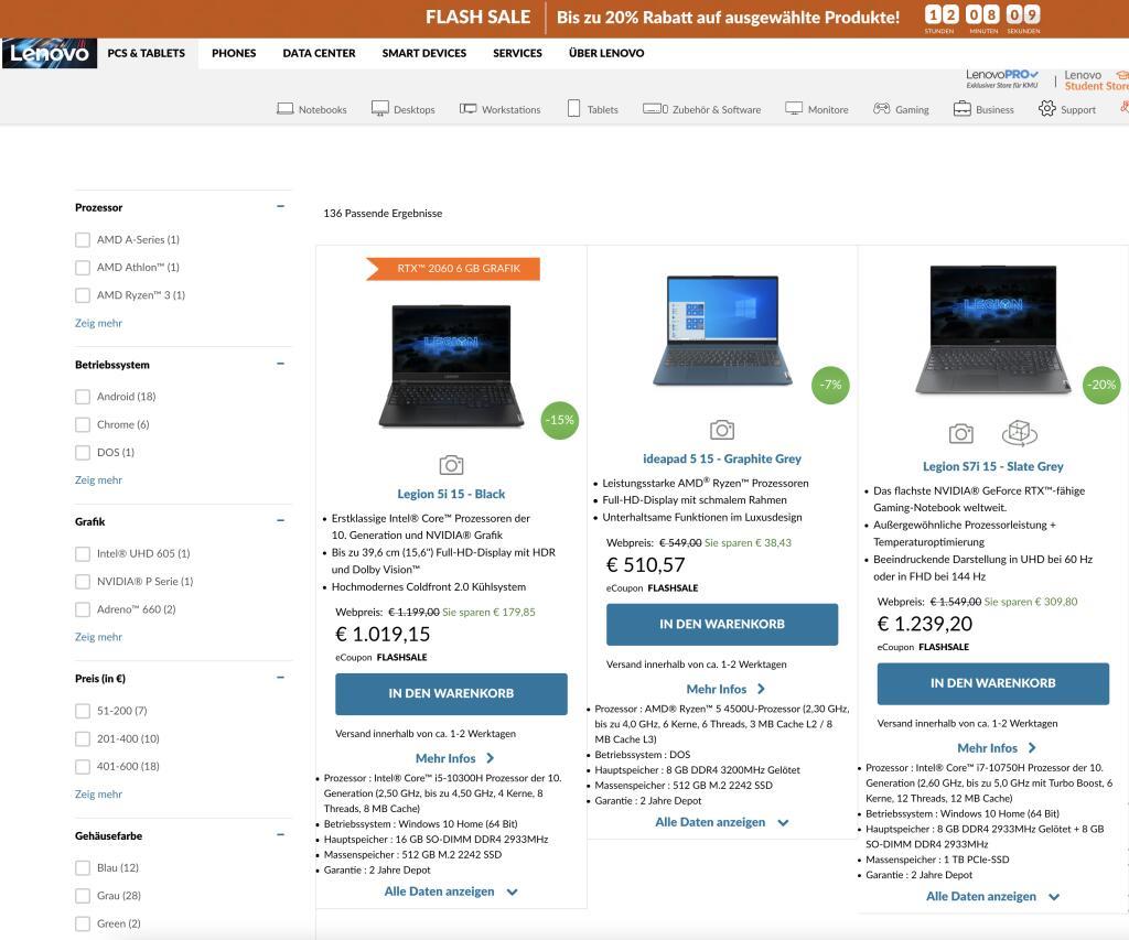Lenovo Flash-sale heute -20% auf ausgewählte Produkte