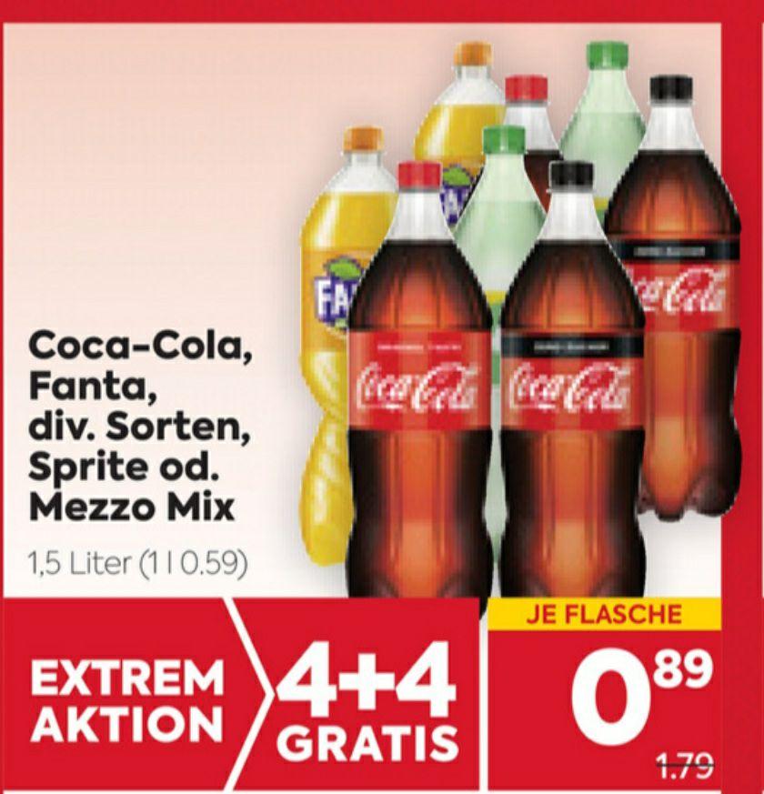 Fanta, Coca-Cola, Sprite, Mezzo Mix 1,5l 4+4 gratis beim Billa/Billa Plus