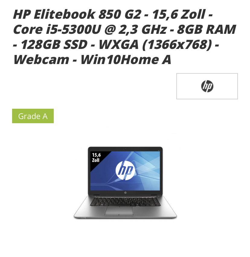 Grade A HP EliteBook G2 15,6 Zoll (Einsteiger Notebook)