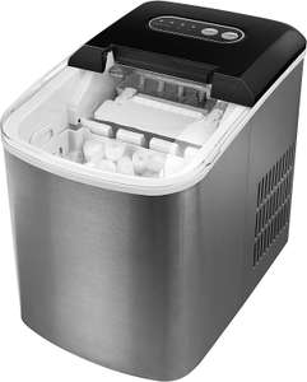 MEDION Eiswürfelmaschine (2,2 Liter Wassertank, Produktionsdauer 6-12 Minuten, 2 Eiswürfelgrößen, Edelstahl, MD17739)