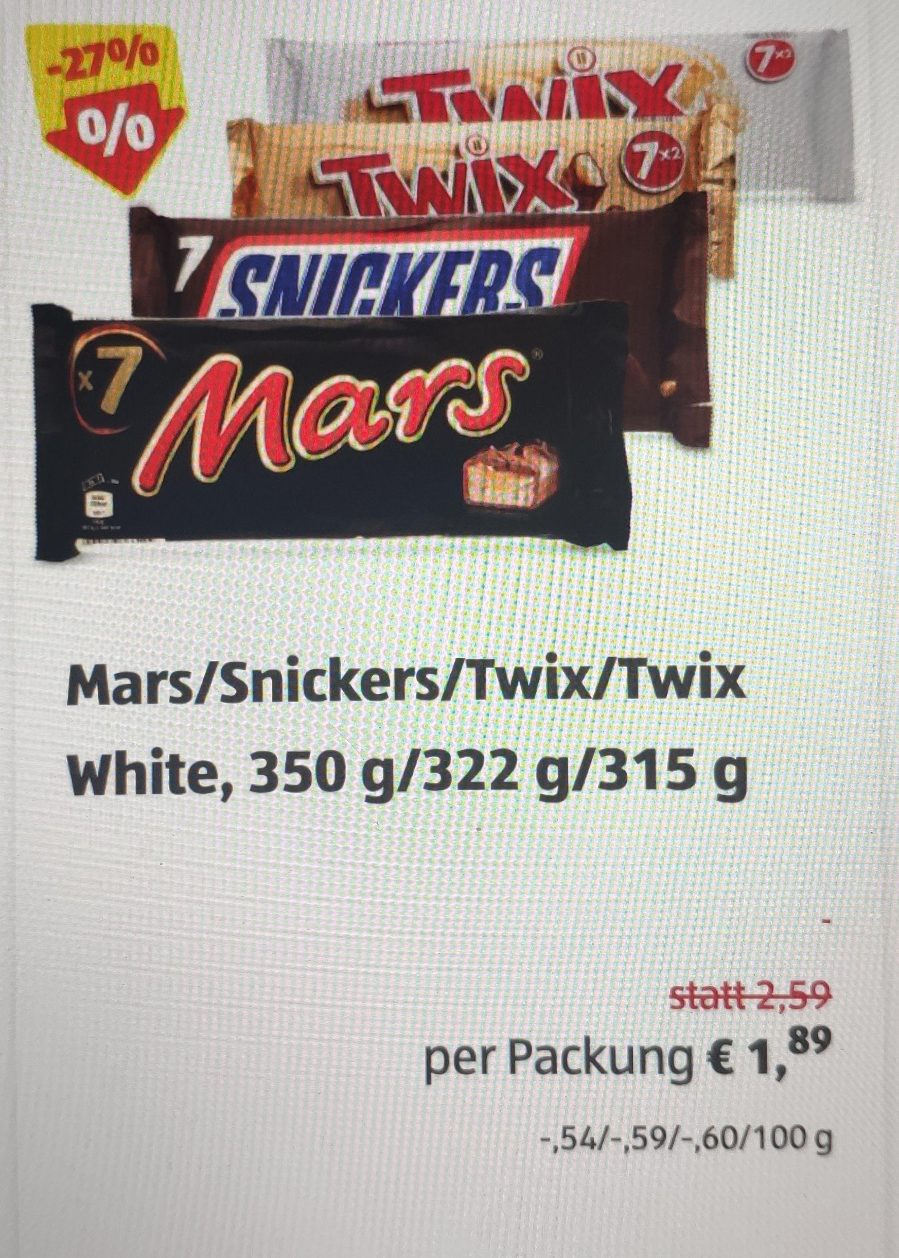 7 x Mars / Snickers / Twix (27cent/ Stück)