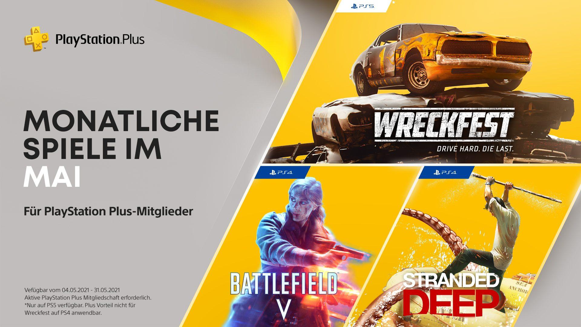 PS Plus Mai 2021: Wreckfest PS5, Battlefield V PS4, Stranded Deep PS4