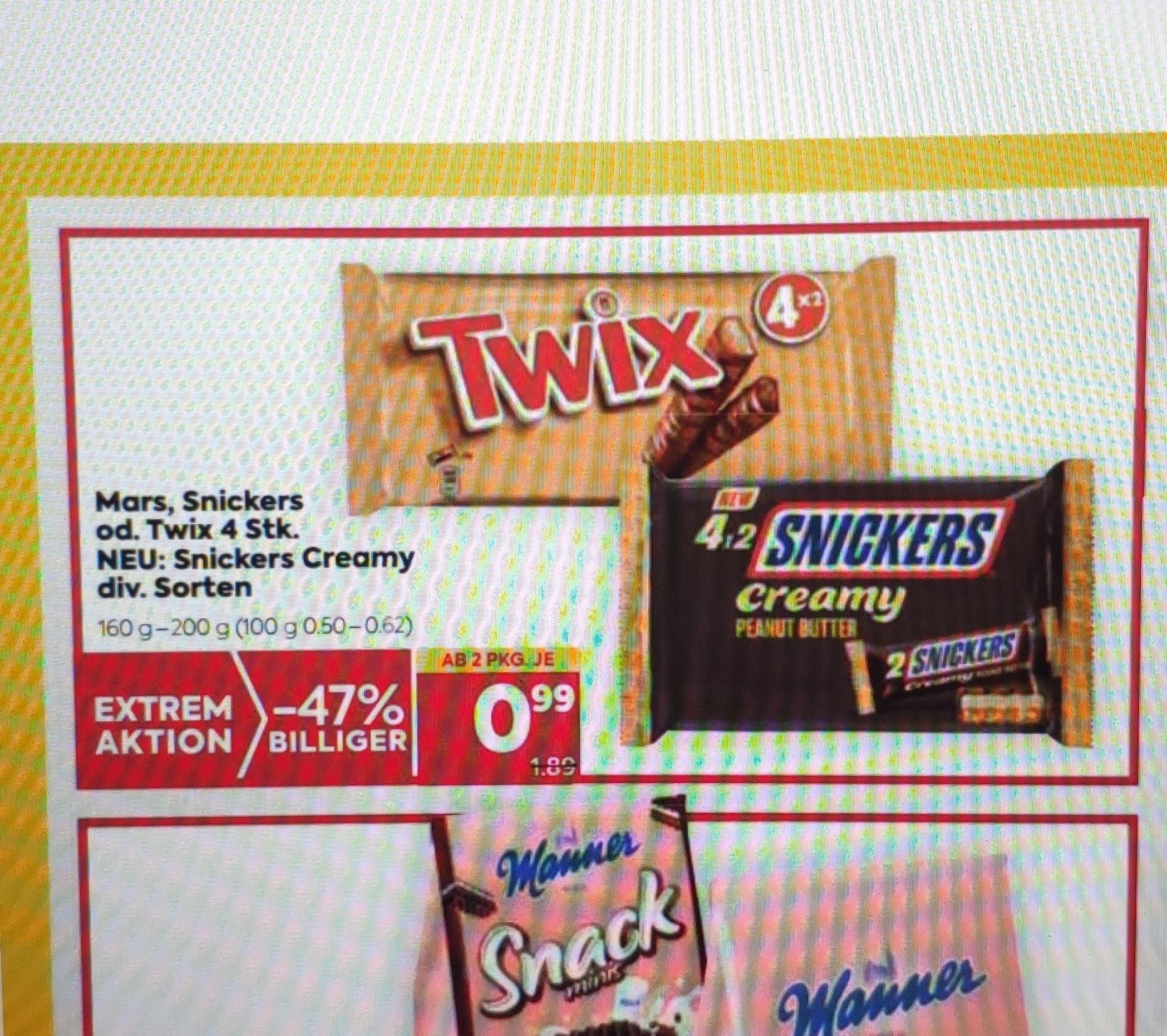 8 x Mars, Snickers, Twix 1+1 gratis 24cent/ Stück