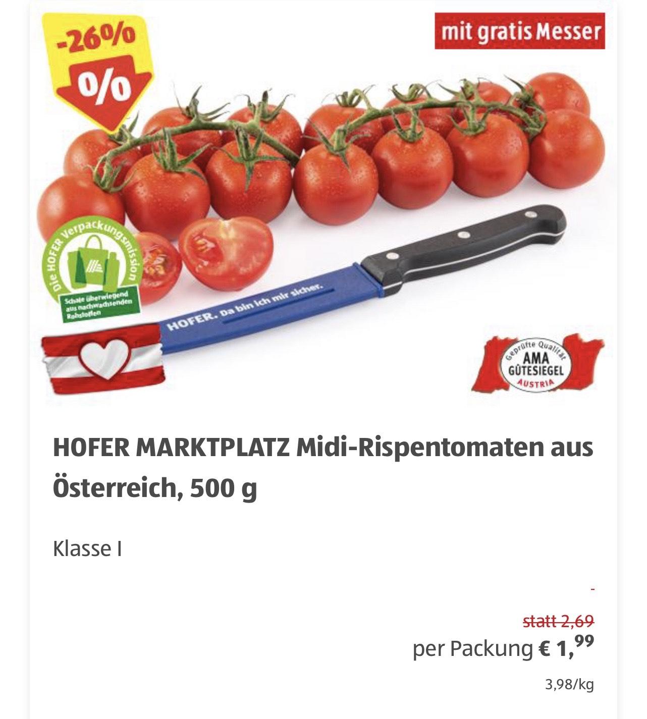 Hofer: Gratis Messer beim Kauf von Tomaten