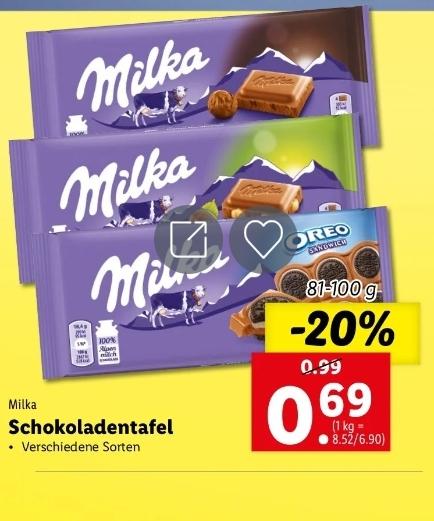 Milka Schokoladentafel bei Lidl in Aktion
