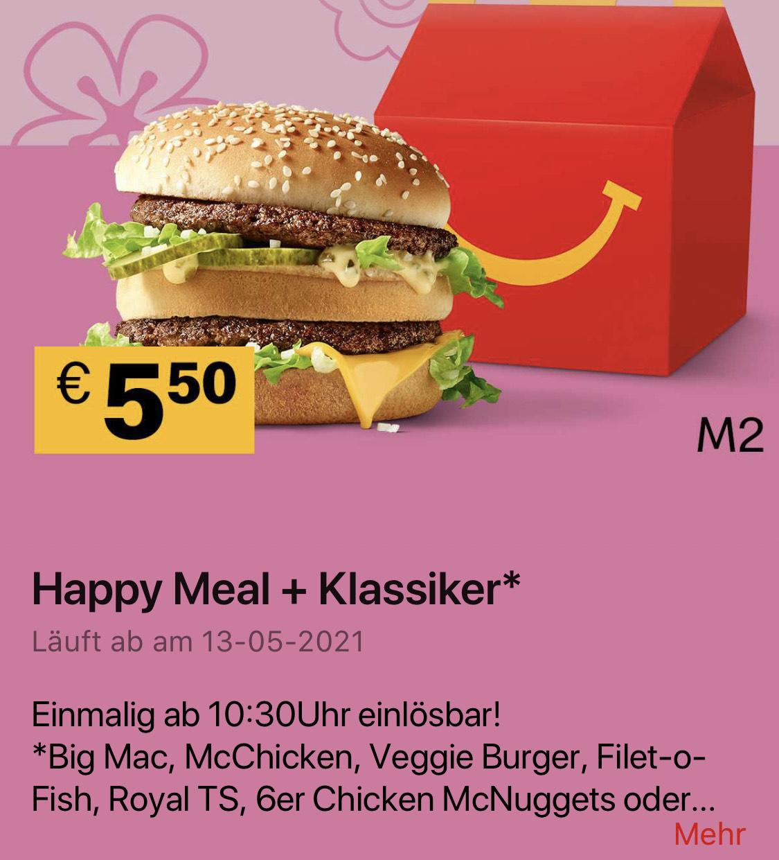 Happy Meal + Klassiker in der McDonalds App