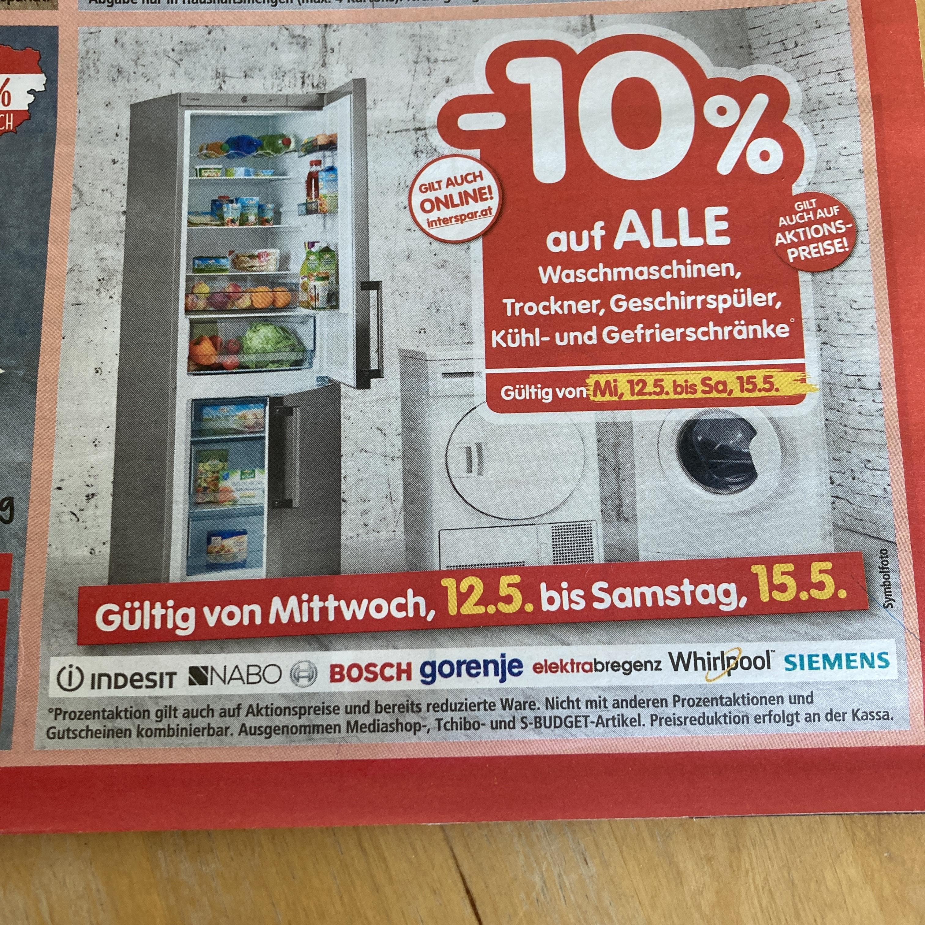 INTERSPAR - 10 % auf alle Waschmaschinen, Trockner, Geschirrspüler und Kühl- und Gefriergeräte