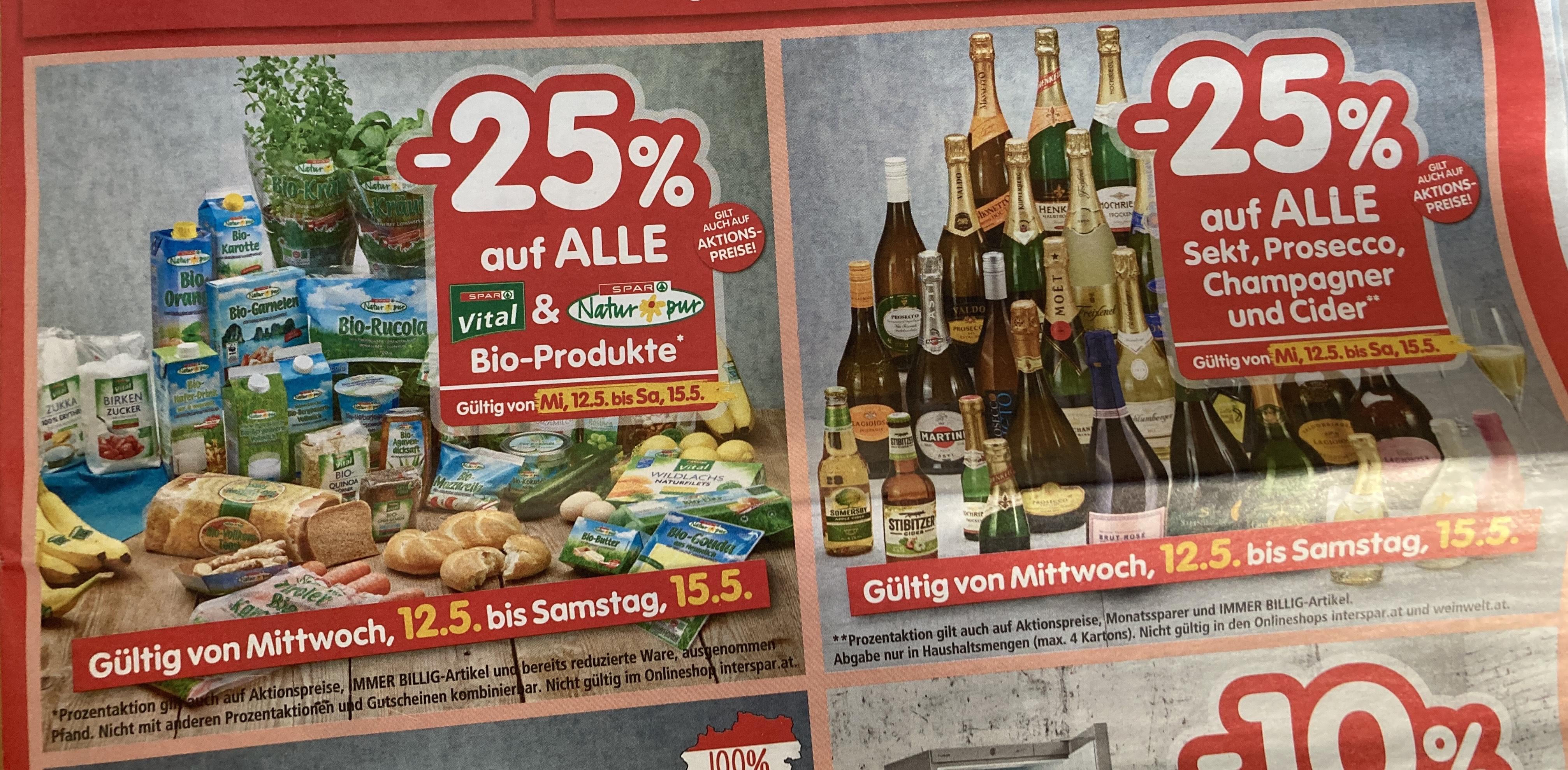 "INTERSPAR - 25% auf alle ""Spar Vital"" & ""Spar Natur pur"" Produkte & alle Sekt, Prosecco, Champagner und Cider"