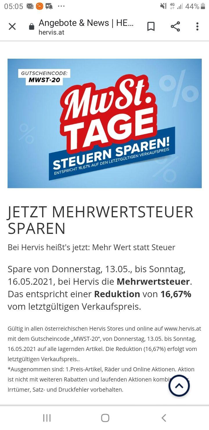 Mehrwertsteuer Sparen bei Hervis 16,67%