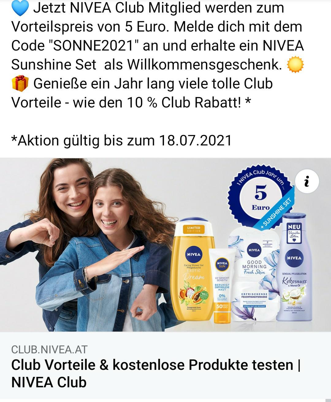1 Jahr Nivea Club + Sunshine Set um 5€