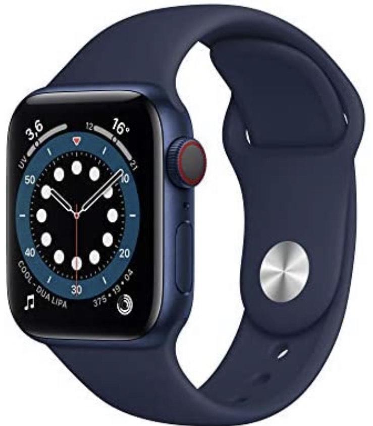 Apple Watch Series 6 (GPS + Cellular) 40mm Aluminium blau mit Sportarmband dunkelmarine