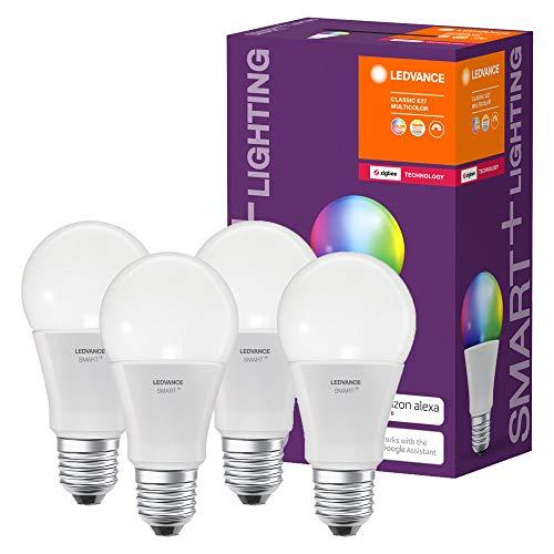 LEDVANCE Smart+ E27 RGB LED-Lampen 4er Pack, kompatibel mit Philips Hue Bridge,