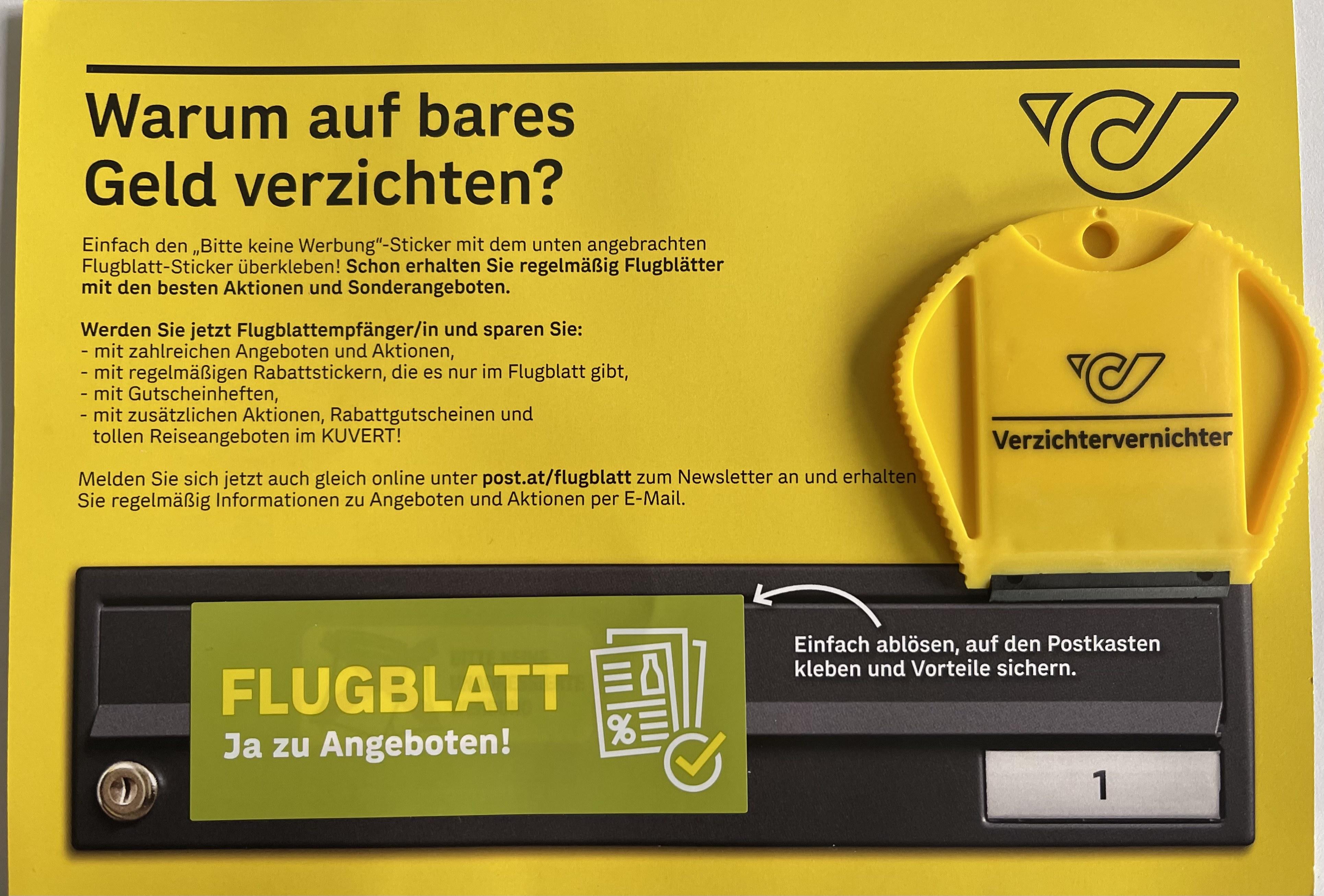 """POST Flugblatt Info: Kostenlos """"Verzichtervernichter""""-Schaber und Sticker """"Ja zu Angeboten"""" bestellen und Flugblätter erhalten"""