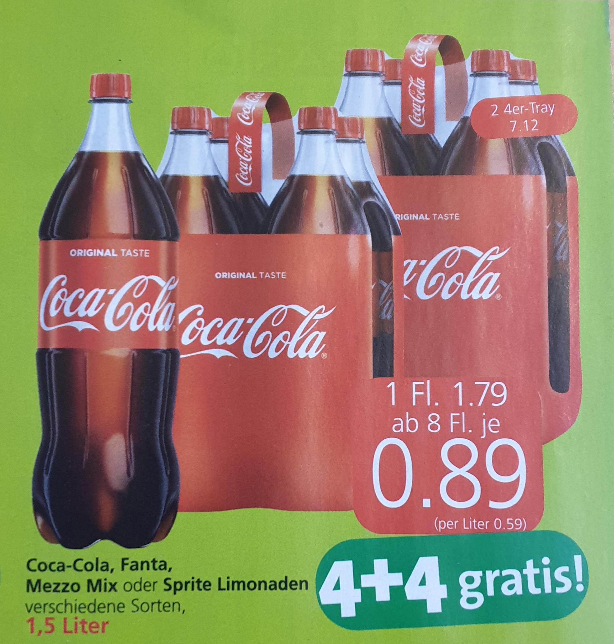 Coca-Cola, Fanta, Mezzo-Mix u. Sprite, 1,5 Liter Aktion bei Spar, Interspar und Eurospar