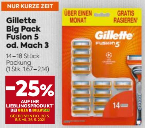 Billa Plus: Gillette Klingen -25%