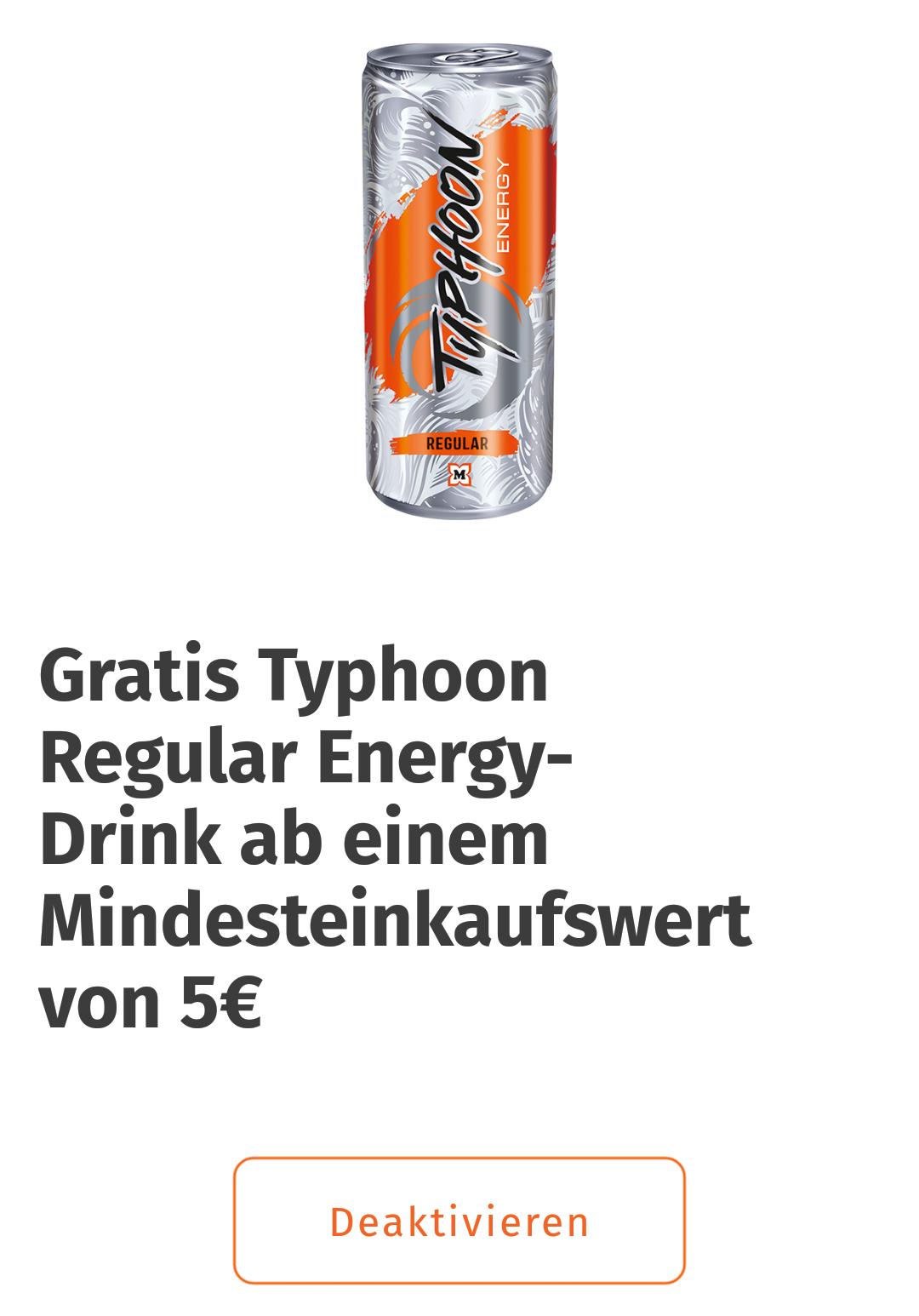 Gratis Typhoon Energydrink ab 5€ Einkaufswert bei Müller