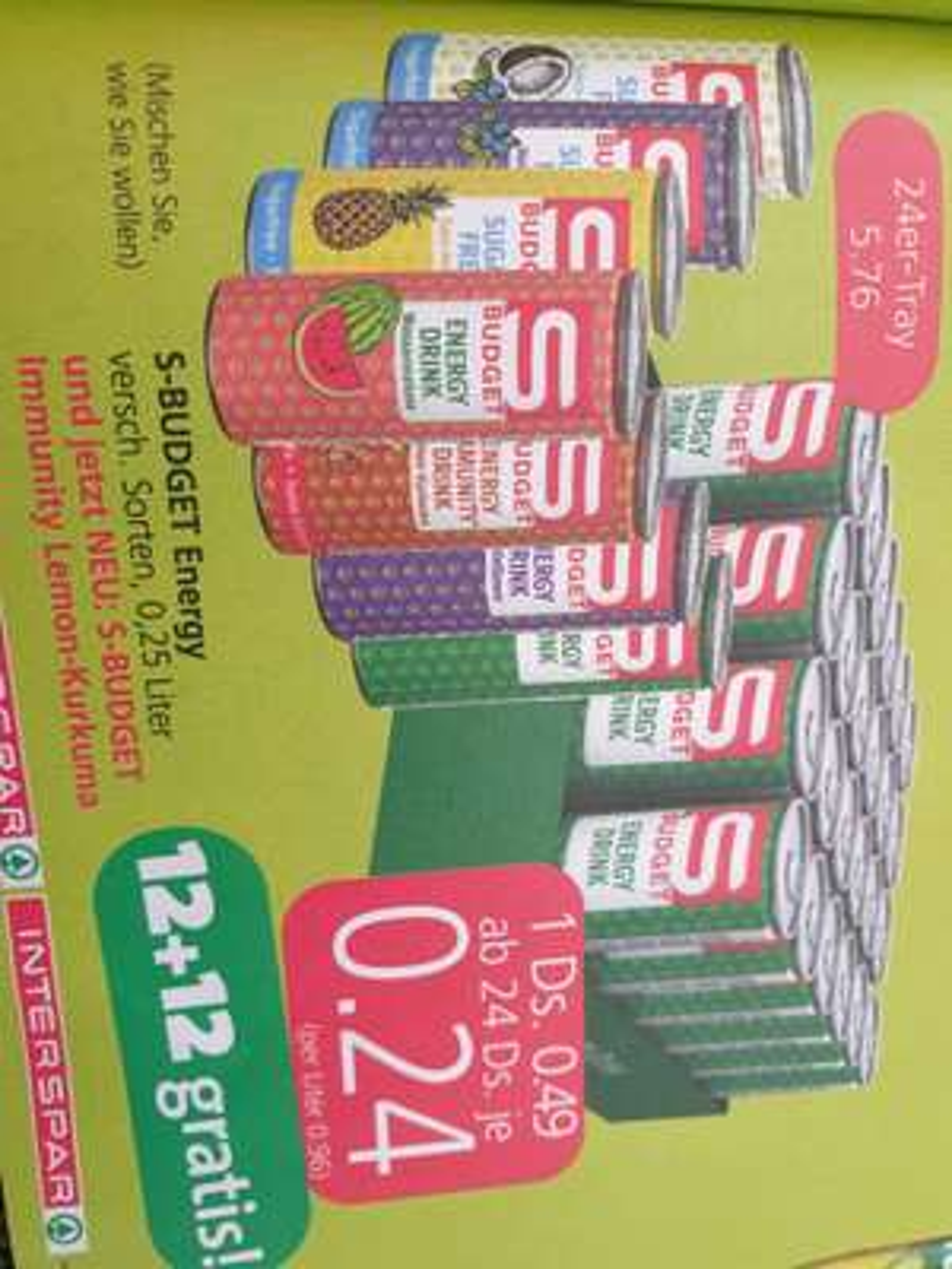 S-Budget Energy Drink ab 24 Dosen € 0.24 je Dose, 12+12 gratis