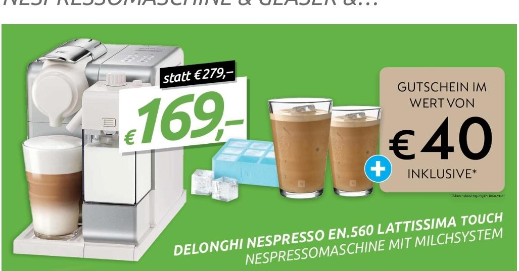 DELONGHI NESPRESSO EN 560 (schwarz oder weiß) + 2 Gläser + Eiswürfelform + € 40 Gutschein