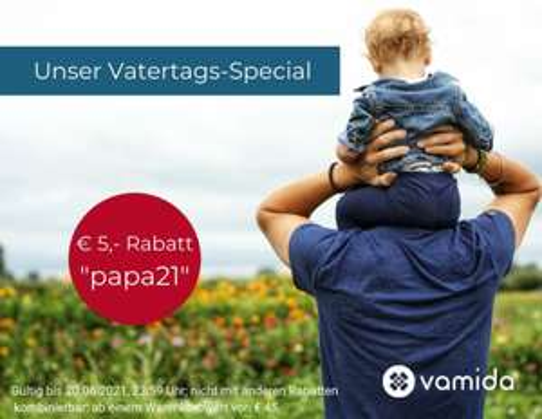 Vatertags-Rabatt: -5€ bei Online-Apotheke Vamida ab 45€ Warenkorbwert