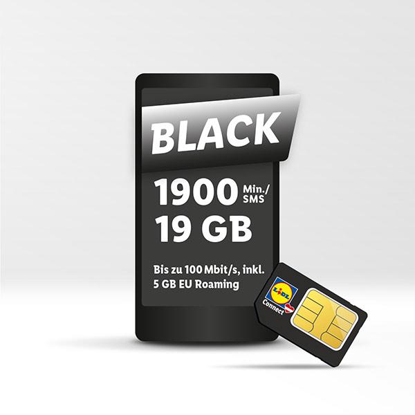 Lidl Connect Tarif BLACK (19 GB, 1900 Minuten oder SMS)