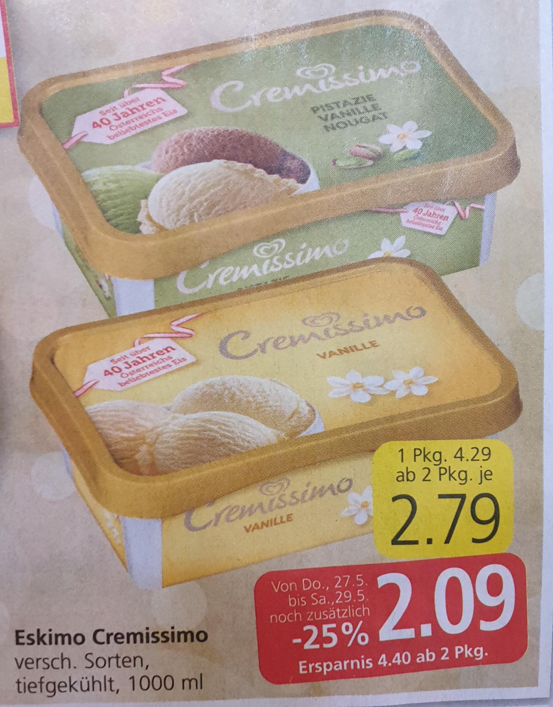 -25% auf ALLE Tiefkühlprodukte inkl. Familien- u. Vorratspackungen EIS! z.Bsp Eskimo Cremissimo