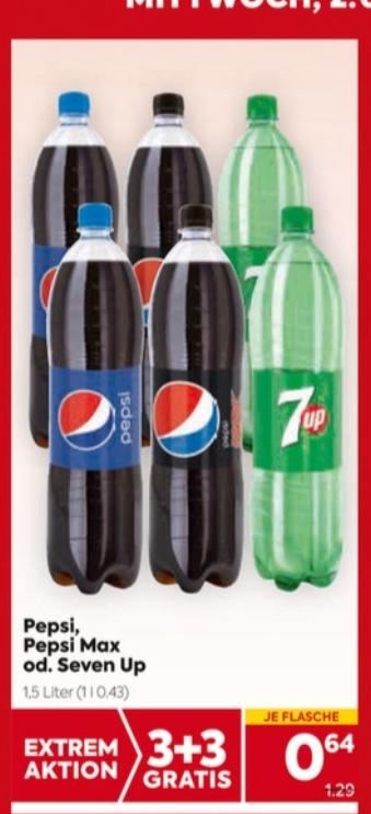 Extrem-Aktion auf ausgewählte alkoholfreie Getränke z.Bsp. Pepsi Cola