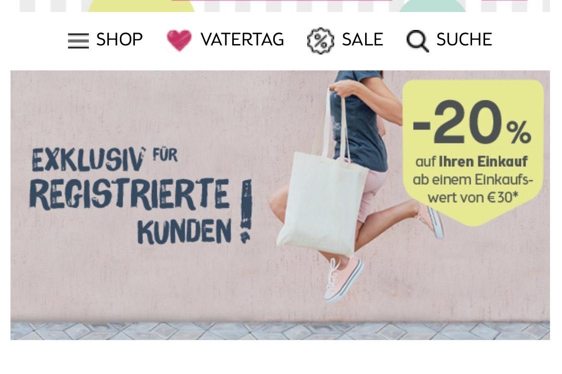 20% ab einem Einkaufswert von €30 für registrierte Kunden