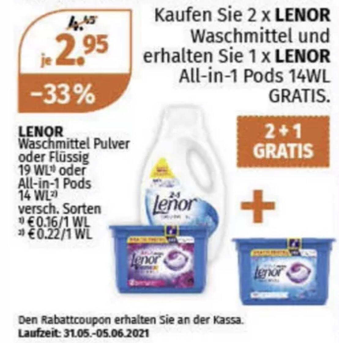 Lenor Waschmittel 0,11€ je WG (Müller)