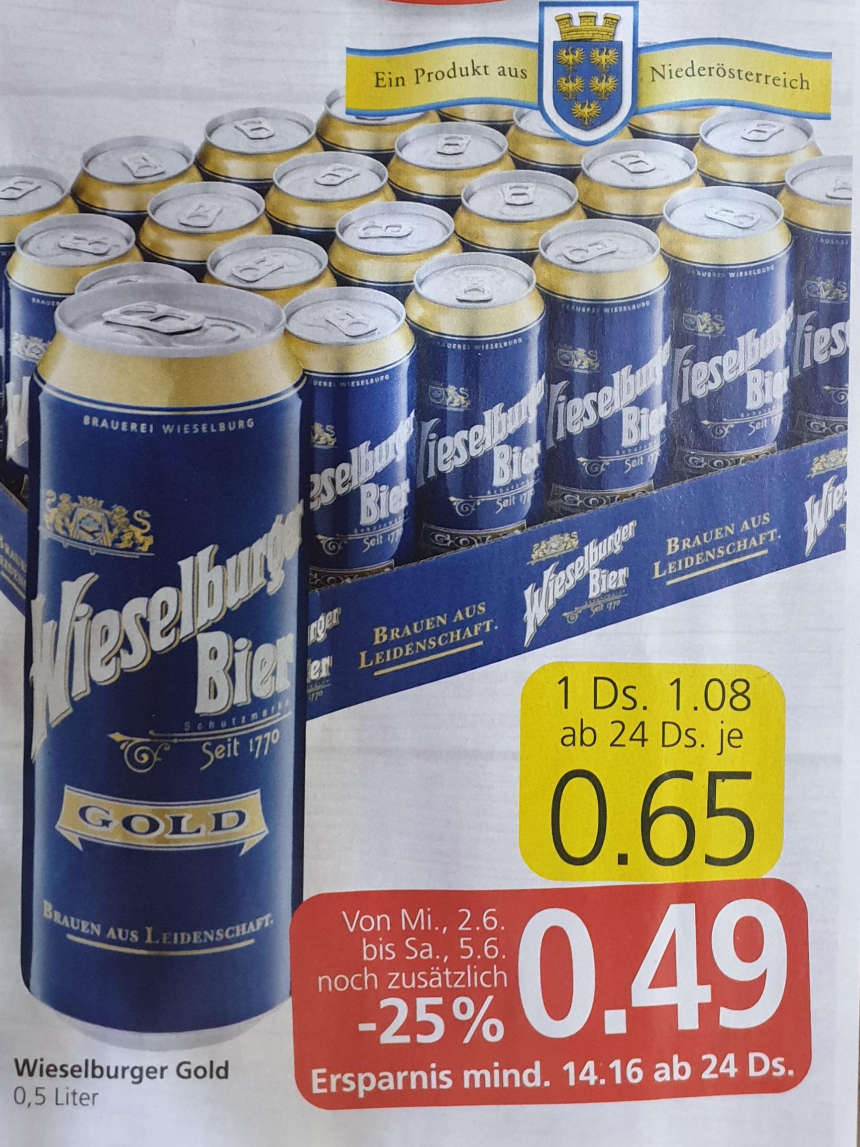 -25% auf ALLE Wieselburger Biere bei Spar, Eurospar und Interspar