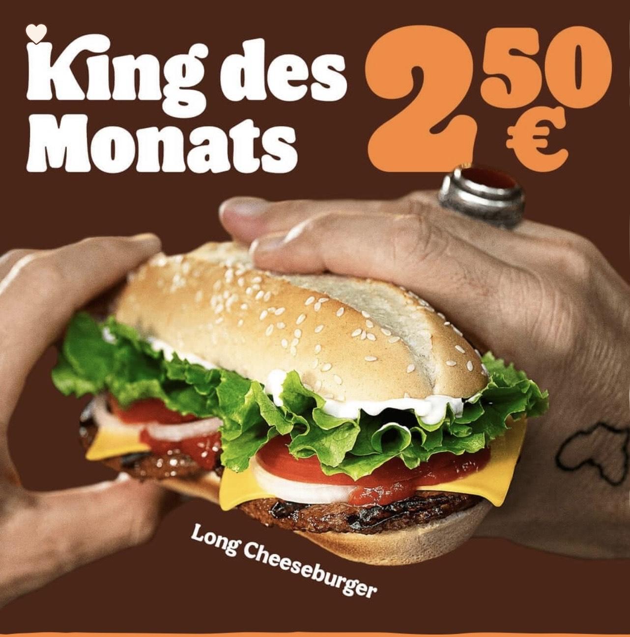 """Burger King: King des Monats Juni """"Long Cheeseburger"""""""