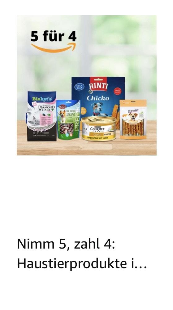 Nimm 5, zahl 4 auf diverse Haustierprodukte
