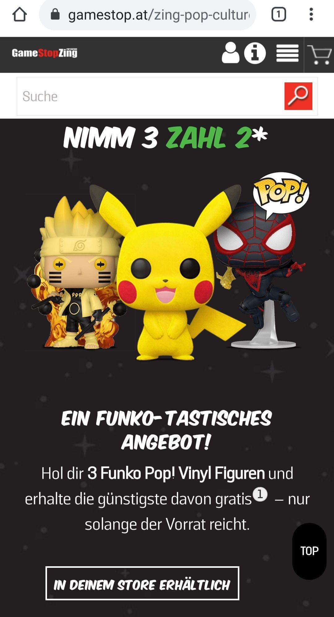 Gamestop.at: 3für2 auf Funko-/TOTAKU Figuren