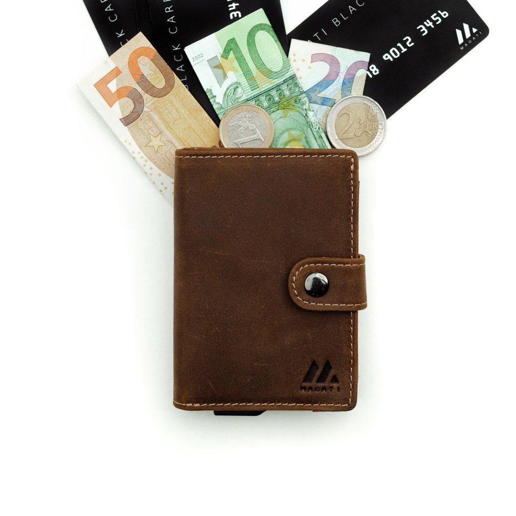 MAGATI Slim Kreditkartenetui Naga mit Münzfach, Geldscheinfach aus Echtleder oder Kork