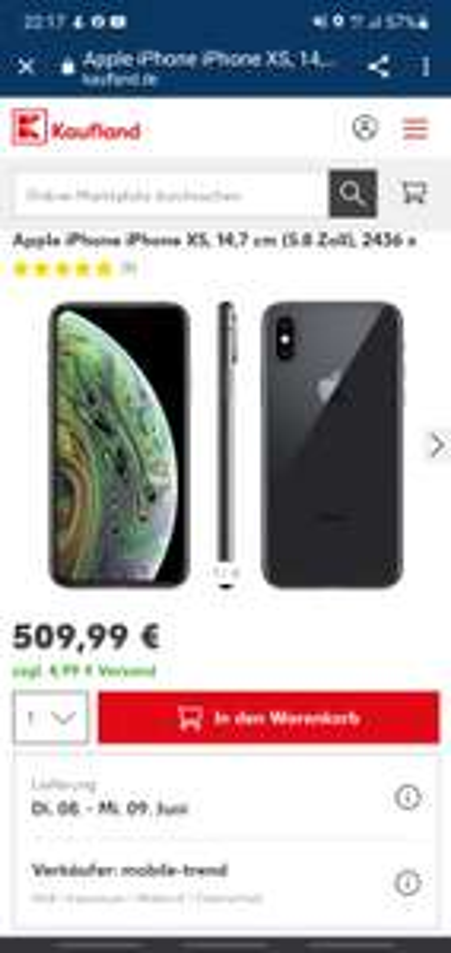 Apple iPhone iPhone XS 64 GB, Grau