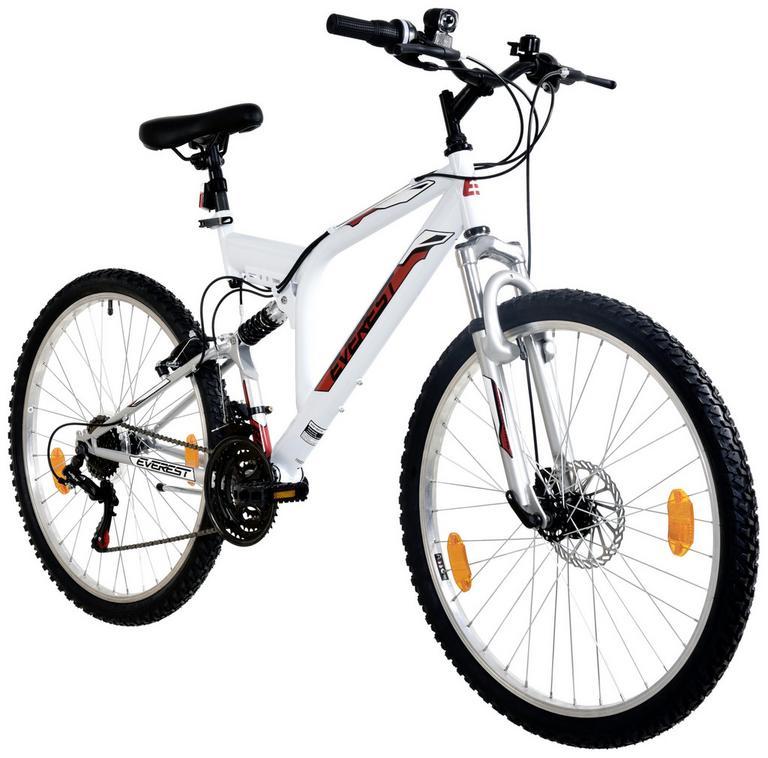 [Möbelix]Mountainbike Everest 26 Zoll weiß/rot / Metall / 18-gang Kettenschaltung