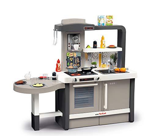 Smoby Tefal Evo Küche Kinderküche mit Spüle, Herd, Essecke, viel Zubehör, Wasserhahn mit Wasser-Pump-Funktion und magischer Panncake-Pfanne