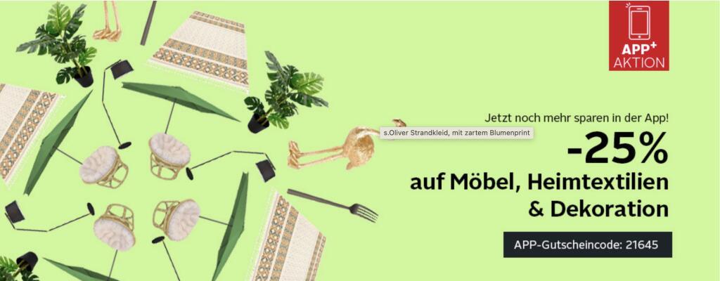 Otto App: 25% Rabatt auf Möbel, Heimtextilien & Deko