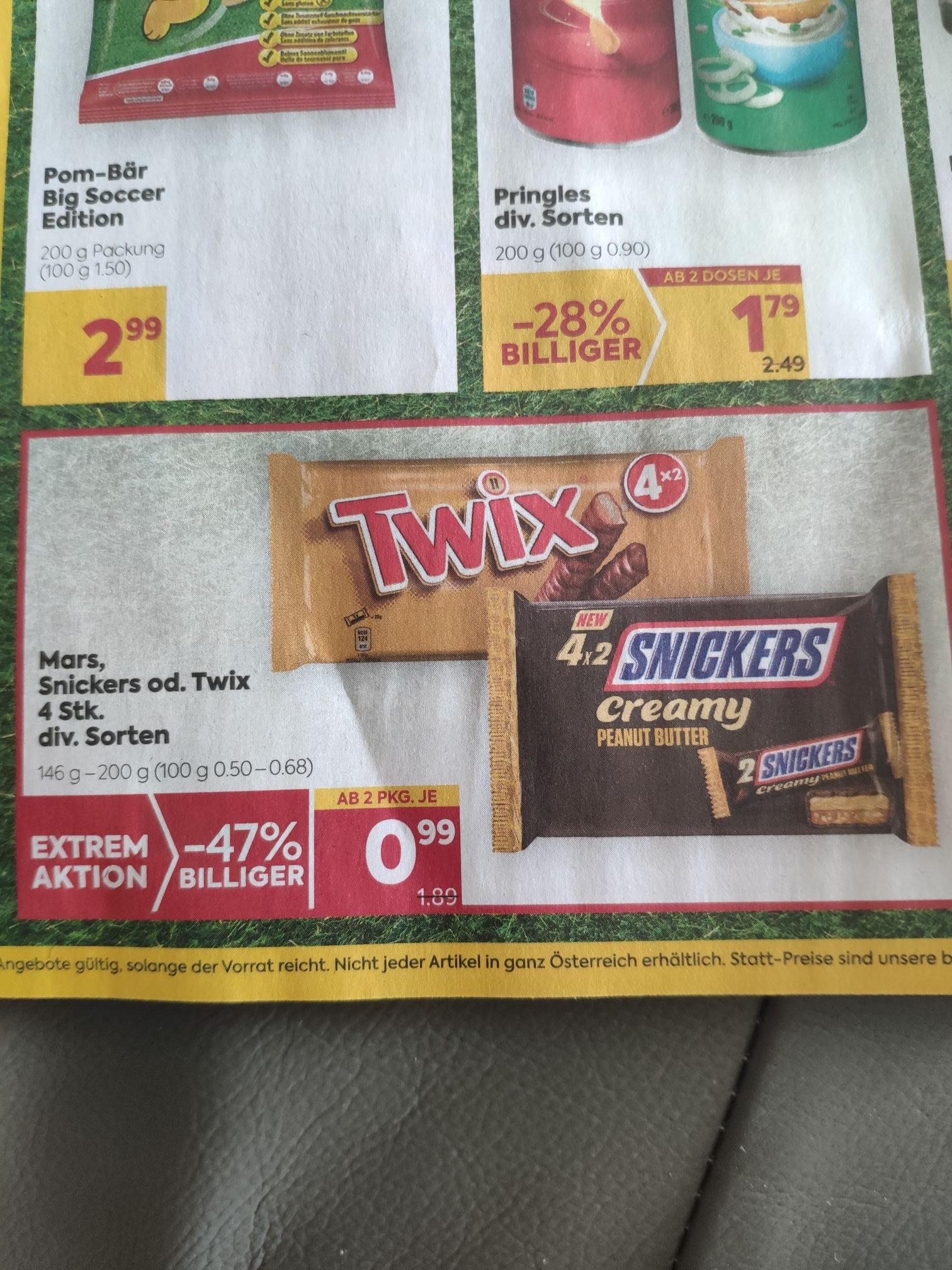 8x Snickers, Twix, Mars 1+1 gratis 24cent/Stück
