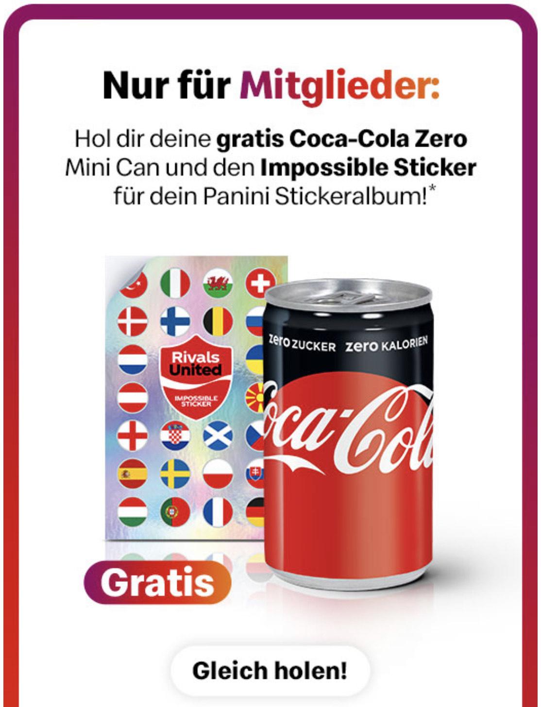 Gratis Coca-Cola Zero Mini Can und Impossible Sticker von Panini