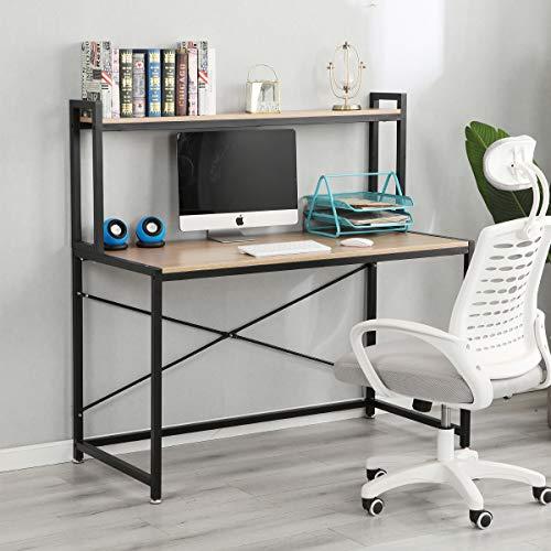 Computertisch mit Ablage, aus Holz und Stahl, 120 x 60 x 72+48 cm