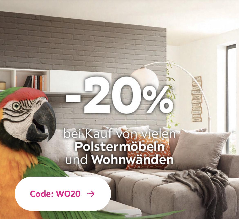 Mömax: 20% bei Kauf von Polstermöbeln und Wohnwänden